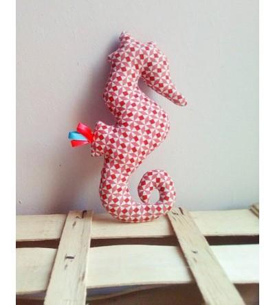 """Peluche décorative Hippocampe """"Rouge Vintage"""""""