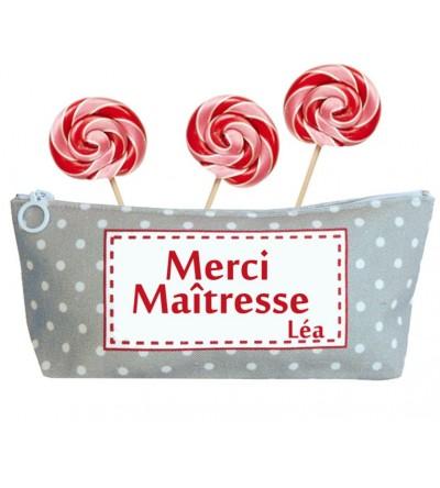 """Trousse Nounou / Maîtresse / Atsem """"Gris à pois"""" - Personnalisable"""