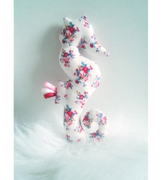 """Peluche décorative Hippocampe """"Fleurs"""""""