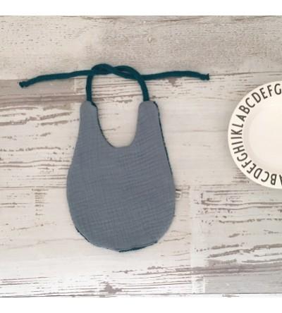 "Bavoir Gaze de coton et tricotin ""Bleu Orage"""