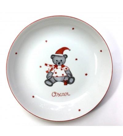 """Assiette creuse """"Ourson de Noël"""" (Personnalisable)"""