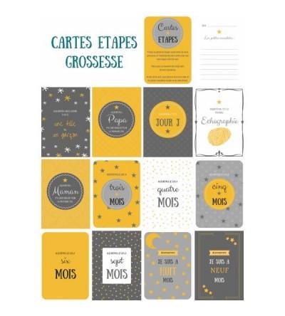 """Lot de 12 Cartes étapes """"Ma Grossesse"""""""