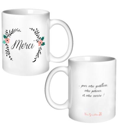 "Tasse fleurie ""Merci"" Nounou / Maîtresse / Atsem - Personnalisable"