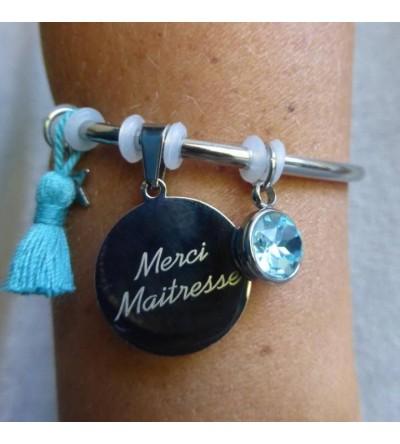"Bracelet gravé ""Merci Maîtresse"" - Turquoise"