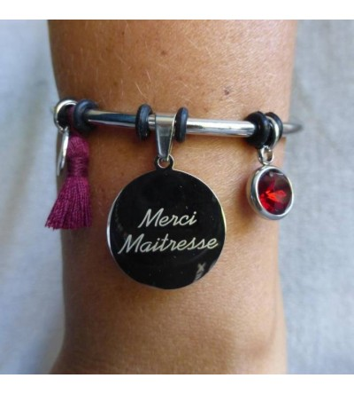 "Bracelet gravé ""Merci Maîtresse"" - Rouge"