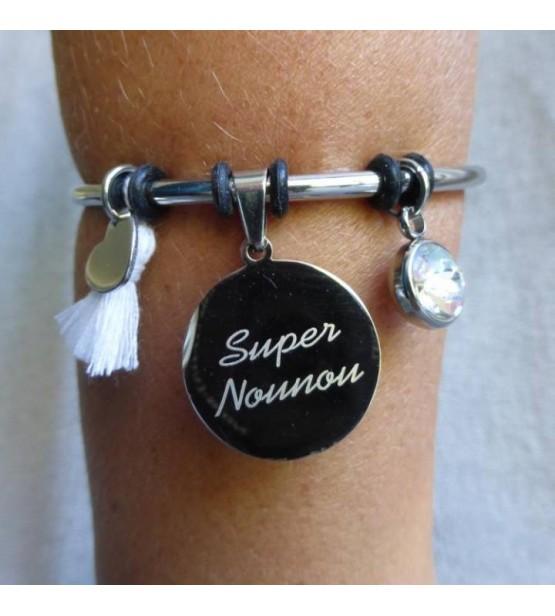"Bracelet gravé ""Super Nounou"" - Blanc"