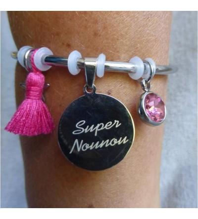 "Bracelet gravé ""Super Nounou"" - Rose"