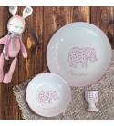 """Coffret cadeau vaisselle """"Eléphant rose"""" (Personnalisable)"""