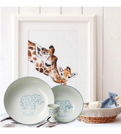 """Coffret cadeau vaisselle """"Eléphant bleu"""" (Personnalisable)"""