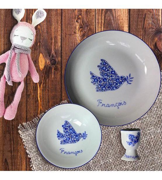 """Coffret cadeau vaisselle """"Colombe bleue"""" (Personnalisable)"""