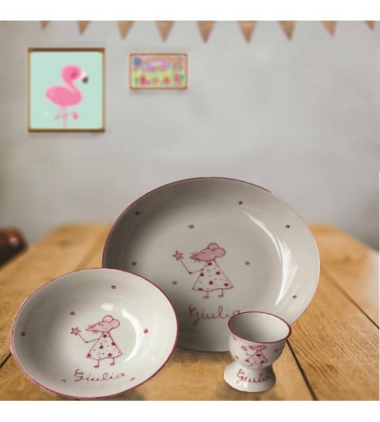 """Coffret cadeau vaisselle """"Fée souris"""" (Personnalisable)"""