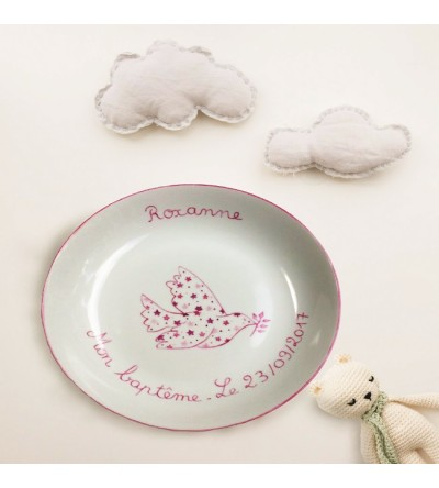"Assiette creuse ""Colombe Rose"" (Personnalisable)"