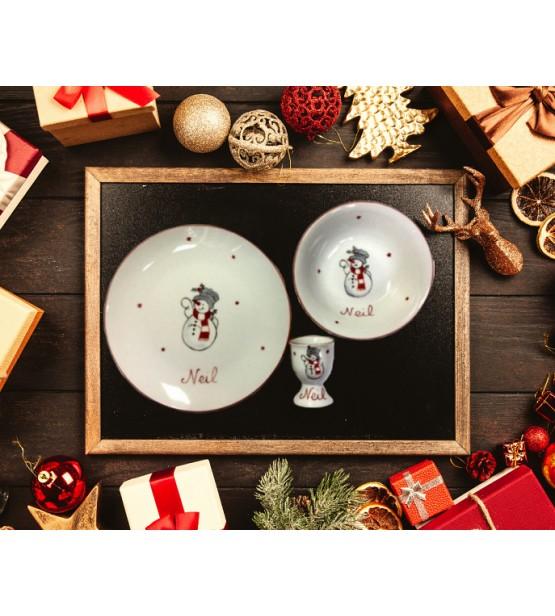 """Coffret cadeau vaisselle """"Bonhomme de Neige"""" (Personnalisable)"""