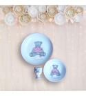 """Coffret cadeau vaisselle """"Ourson rose"""" (Personnalisable)"""