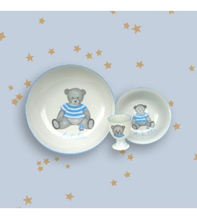 """Coffret cadeau vaisselle """"Ourson bleu"""" (Personnalisable)"""