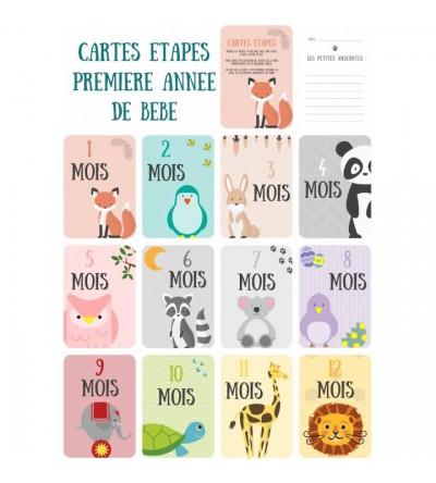"""Lot de 12 Cartes étapes Bébé """"Mes 12 premiers mois"""""""