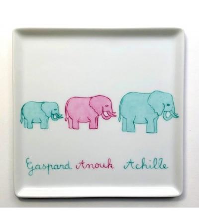 """Vide-poche """"ribambelle d'éléphants"""" (Personnalisable)"""