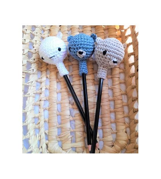 """""""Les Z'animaux rigolos!"""" - Embouts pour crayon au crochet (+ Crayon de bois)"""