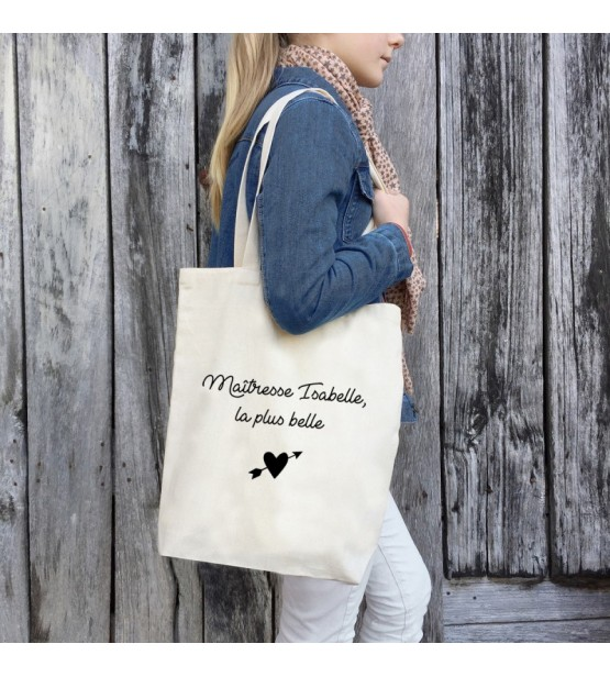 "Tote Bag ""Maîtresse / Atsem / Nounou"" Personnalisable"