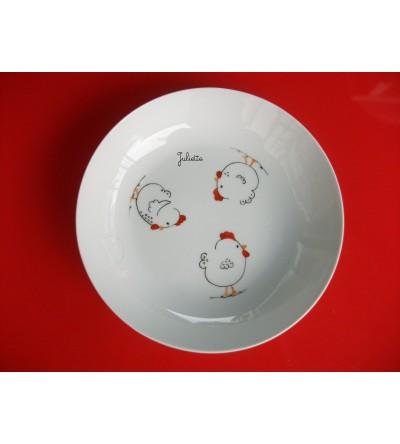 """Assiette creuse personnalisable """"Trois p'tites poules"""""""