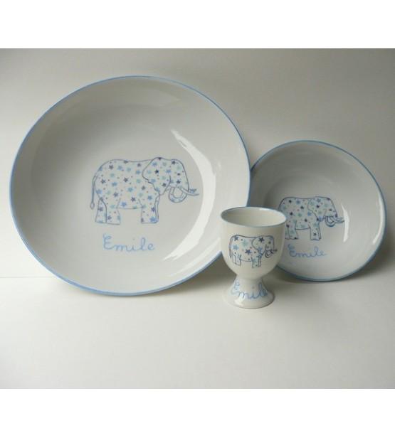 """Coffret cadeau vaisselle """"Eléphant blei"""" (Personnalisable)"""