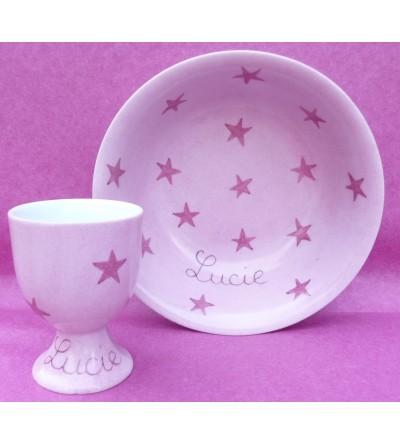 """Coffret cadeau vaisselle """"Etoiles roses"""" (Personnalisable)"""