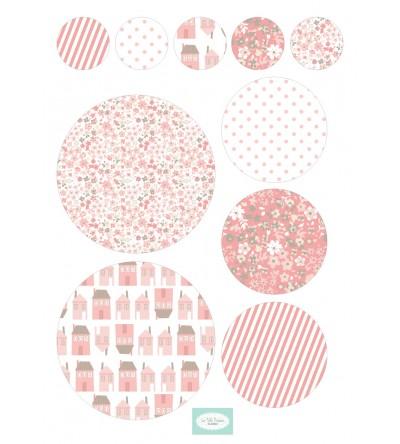 "Stickers Pastilles ""Rose"""